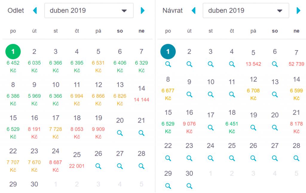 Skyscanner.com ceny letenek za celý měsíc